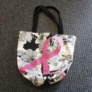 Breast cancer ribbon design tote bag.